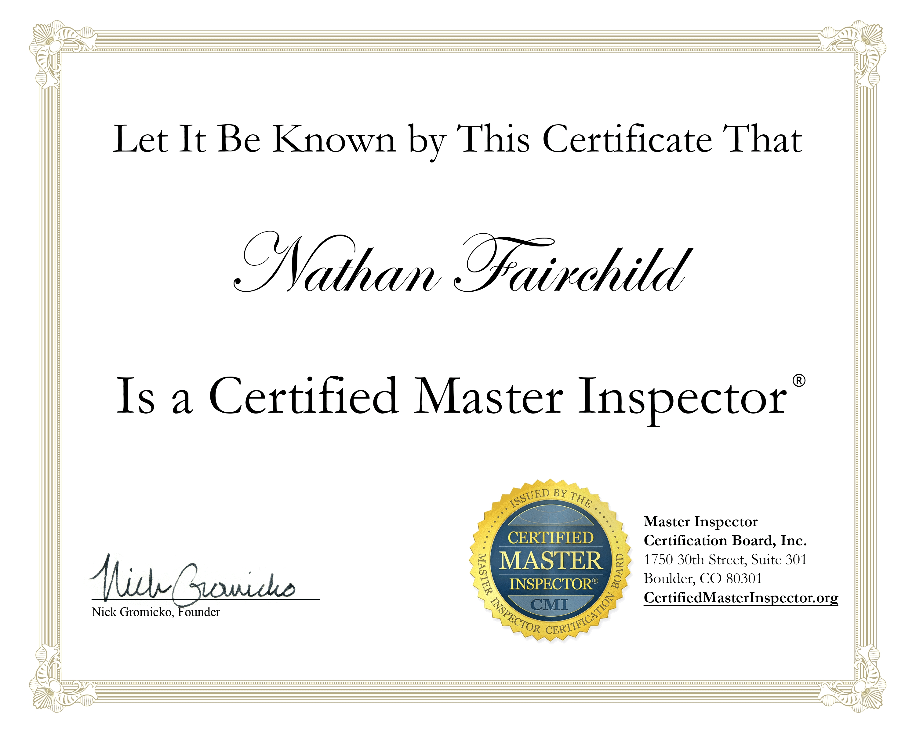 inspection certificate denver certificates area certifications certified give company service